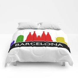 barcelona skyline Comforters