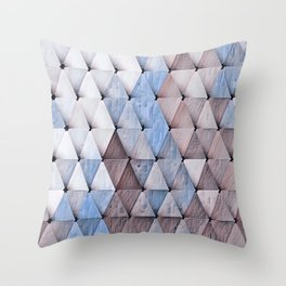 Textured Triangles Taupe Denim Throw Pillow