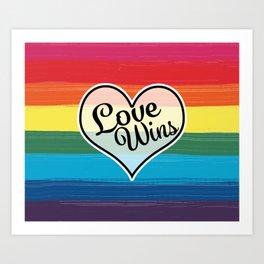 LGBTQ+ Pride Love Wins Paint Stroke Design Art Print