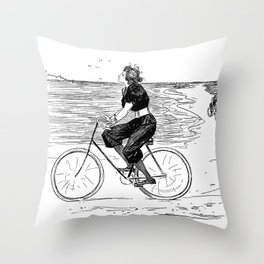 A Lovely girl is riding a bike at the beach - hand drawn retro style illustration Throw Pillow