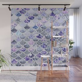 Purple and Ultra Violet Trendy Glitter Mermaid Scales Wall Mural
