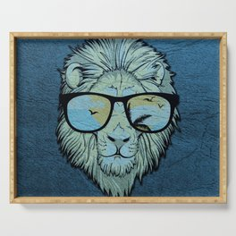 Stylish Lion Design with Moroccan Leather background Serving Tray