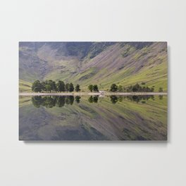 Tree reflections on Buttermere. Lake District, Cumbria, UK Metal Print