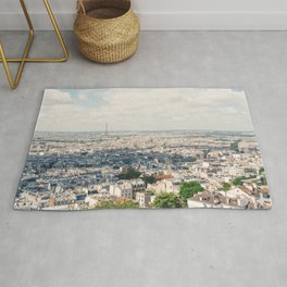 Eiffel Tower Aerial City View from Sacre Coeur Paris, France Rug