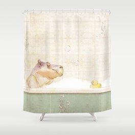 Hippo in the bath Shower Curtain