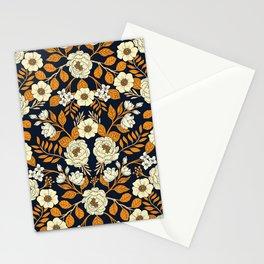 Navy Blue, Orange, Cream, Gold & White Floral Pattern Stationery Cards