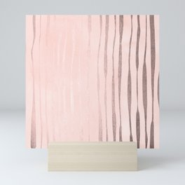 Rose Gold Pastel Pink Vertical Stripes Mini Art Print