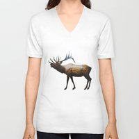 rocky V-neck T-shirts featuring The Rocky Mountain Elk by Davies Babies