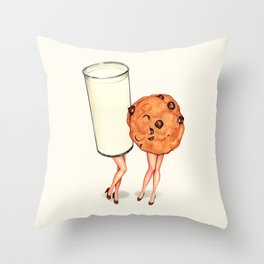 Milk & Cookie Pin-Ups Throw Pillow