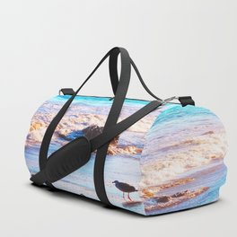seagull bird on the sandy beach with blue wave water in summer Duffle Bag