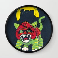 dentist Wall Clocks featuring Battle Kitty's Mighty RAWR!  by Fanboy30