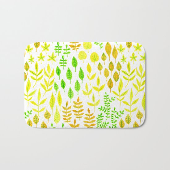Watercolor doodle leaves pattern white Bath Mat