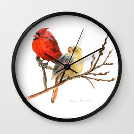 The Perfect Pair - Male and Female Cardinal by Teresa Thompson Wall Clock