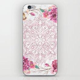 Rose Gold Mandala Garden on Marble iPhone Skin