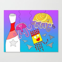 #118: Jellyfish Take Their Angel Friend Bowling Canvas Print