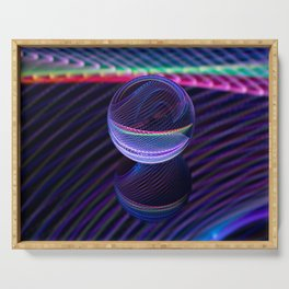 Checkered lines in the glass ball Serving Tray