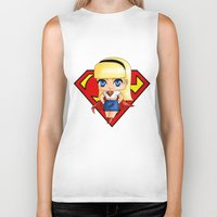 supergirl Biker Tanks featuring Chibi Supergirl by artwaste