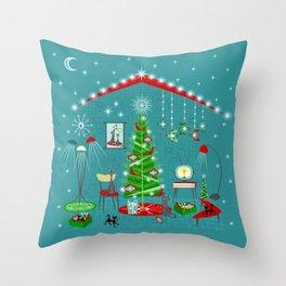 Retro Holiday Decorating iii Throw Pillow