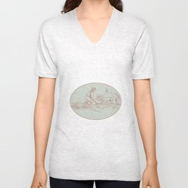 Medieval Grave Digger Shovel Oval Drawing Unisex V-Neck
