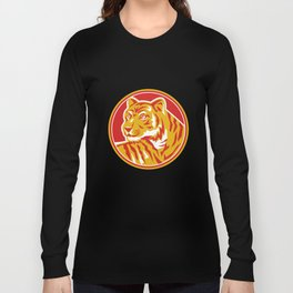 Tiger Prowling Head Circle Retro Long Sleeve T-shirt