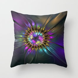 Fantasy Flower Fractal Throw Pillow