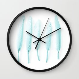 Pale Feathers II Wall Clock
