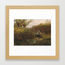 James Aumonier RI (1832-1911) River Landscape with couple in a punt Framed Art Print
