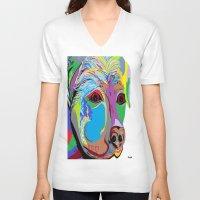rottweiler V-neck T-shirts featuring Rottweiler by EloiseArt