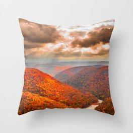 Coopers Rock State Park West Virginia Fall Landscape Throw Pillow