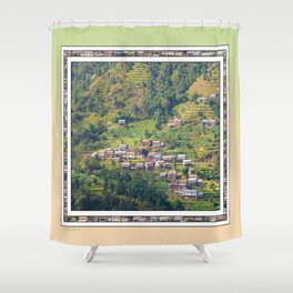 TERRACED HIMALAYAN FOOTHILLS VILLAGE IN NEPAL Shower Curtain