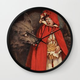 Little Red Riding Hood and the Big Bad Wolf portrait painting by Jesse Wilcox Smith Wall Clock