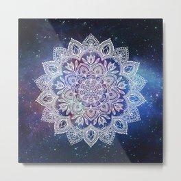 Boho Mandala - White on Galaxy Metal Print