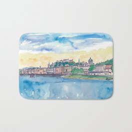 Salzburg Austria River Old Town and Castle Bath Mat