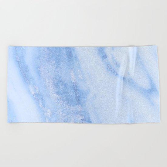 Shimmery Pure Cerulean Blue Marble Metallic Beach Towel
