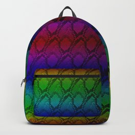 Bright Metallic Rainbow Python Snake Skin Backpack
