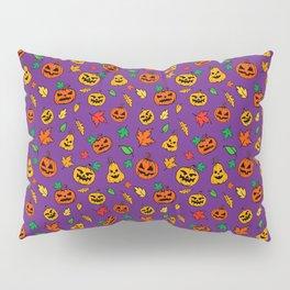 Purple Pumpkin Pattern Print Halloween Pillow Sham