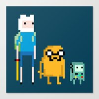 beemo Canvas Prints featuring Adventure Pixel Time by Raquel Segal