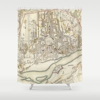 poland Shower Curtains featuring Vintage Map of Warsaw Poland (1831) by BravuraMedia