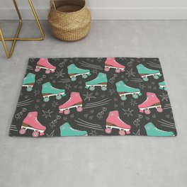 Vintage Roller Skates on blackboard pattern Rug