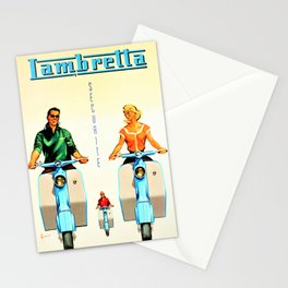 Vintage Lambretta Motor Scooter 'Security' Advertisement Poster Stationery Cards
