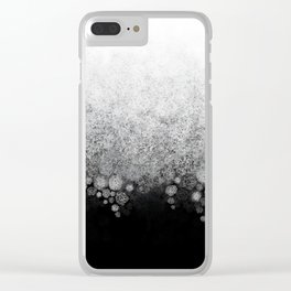 Snowfall on Black Clear iPhone Case