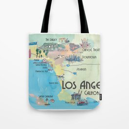Greater Los Angeles Fine Art Print Retro Vintage Map with Touristic Highlights in colorful retro pri Tote Bag