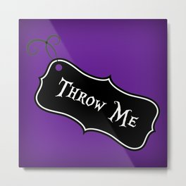 """Throw Me"" Alice in Wonderland styled Bottle Tag Design in 'Shy Violets' Metal Print"