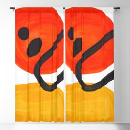Midcentury Modern Colorful Abstract Pop Art Space Age Fun Bright Orange Yellow Colors Minimalist Blackout Curtain