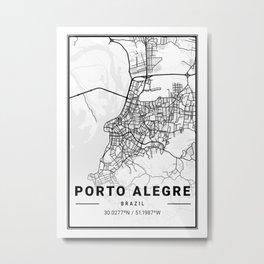 Porto Alegre Light City Map Metal Print