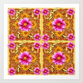 Yellow & Brown Celtic Design Yellow Art Purple Dahlias Art Print