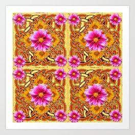 Yellow & Brown Celtic Design Yellow Art Purple Dahlias Art Print