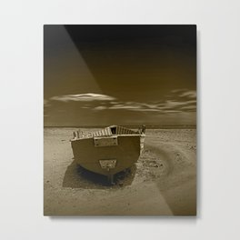 Row Boat on a Sandy Beach in Biscayne Bay Florida with Clouds Floating in Sepia Metal Print