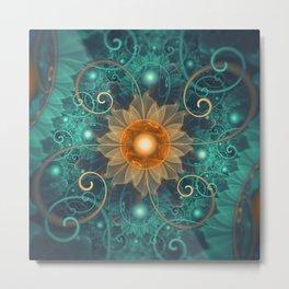 Beautiful Tangerine Orange and Teal Lotus Fractals Metal Print