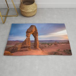 Golden Arch - Delicate Arch at Sunset in Utah Rug